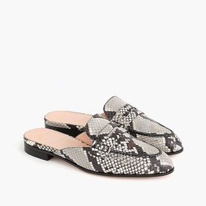 New JCREW Academy Penny Loafer Mules in Snake